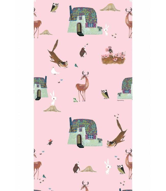 Wallpaper 'Forrest Animals', pink - Fiep Westendorp