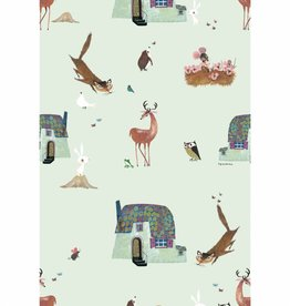 Kek Amsterdam Wallpaper Forest Animals, green