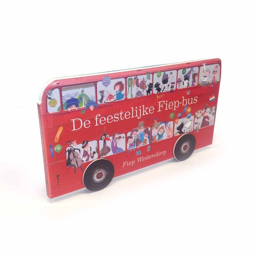 Querido De feestelijke Fiepbus, Kartonboek met draaiende wielen