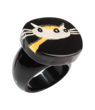 Zsiska Ring 'Kat' zwart/geel/wit - Fiep Westendorp