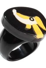 Zsiska Ring 'Hondje' zwart/geel/wit - Fiep Westendorp