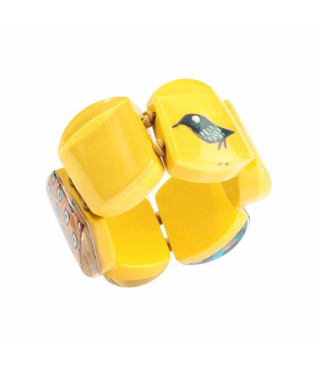 Armband 'Vogel' geel - Fiep Westendorp