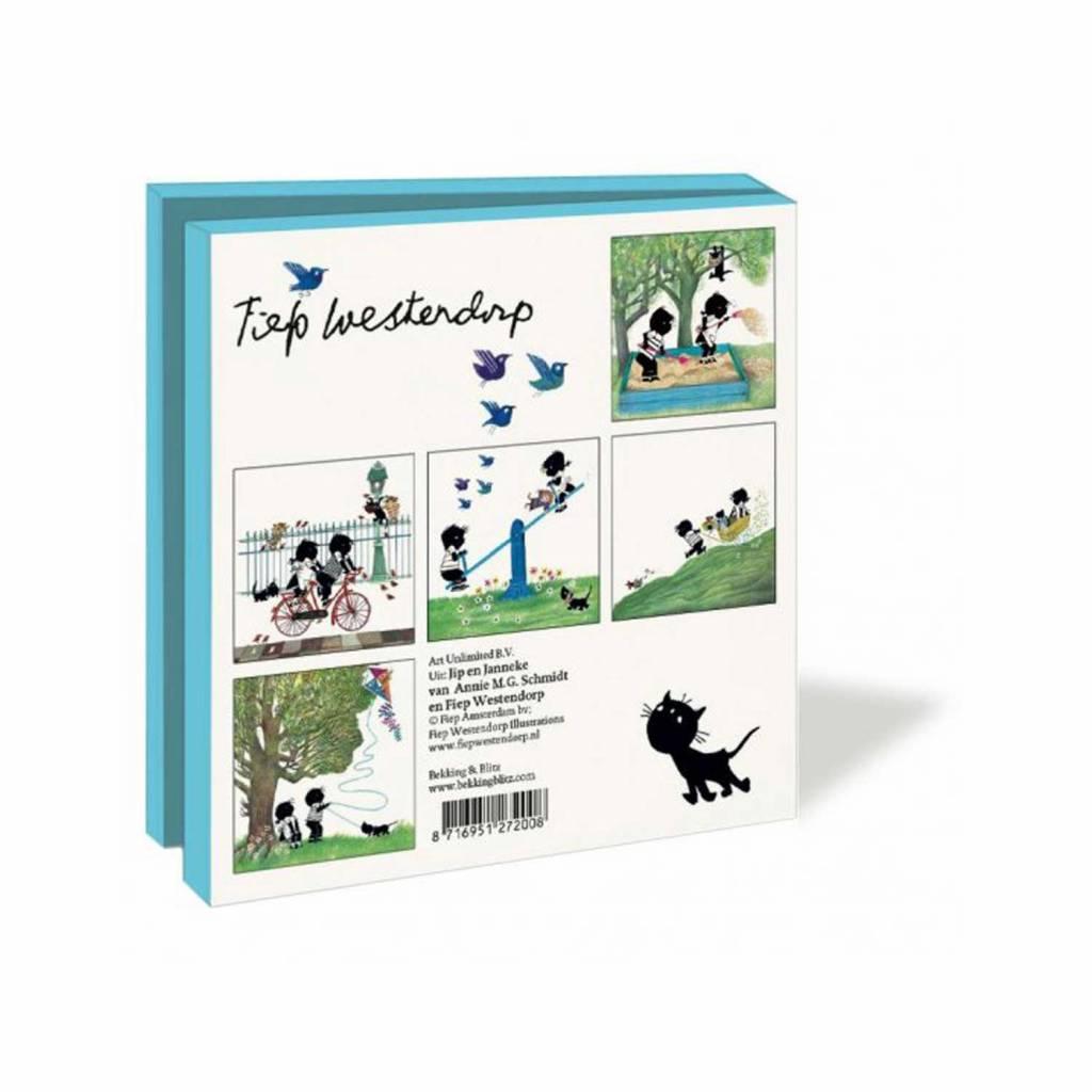 Bekking & Blitz Ansichtkaartenmapje, Jip en Janneke, Spelen - Fiep Westendorp