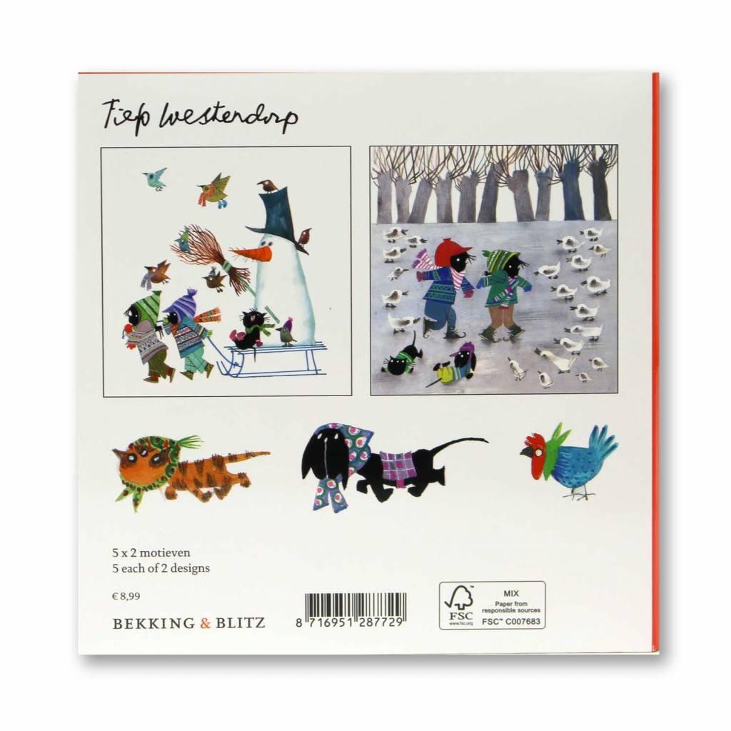 Bekking & Blitz Ansichtkaartenmapje, Jip en Janneke, Winter - Fiep Westendorp