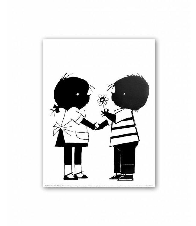 Jip en Janneke Poster, Jip offers a flower to Janneke, 30 x 40 cm