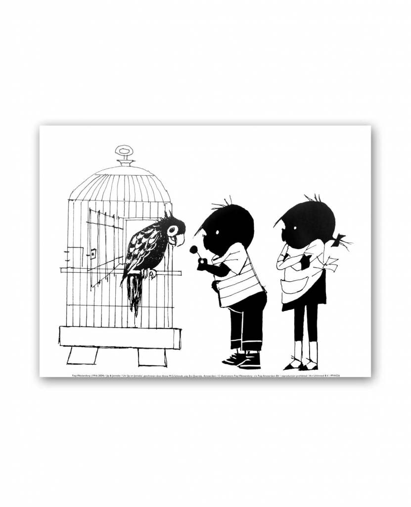 Art Unlimited Jip en Janneke Poster, Jip en Janneke staan bij een papegaai, 30 x 40 cm
