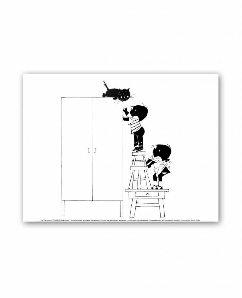 Art Unlimited Jip en Janneke Poster, Jip en Janneke proberen Siepie van de kast te halen, 30 x 40 cm