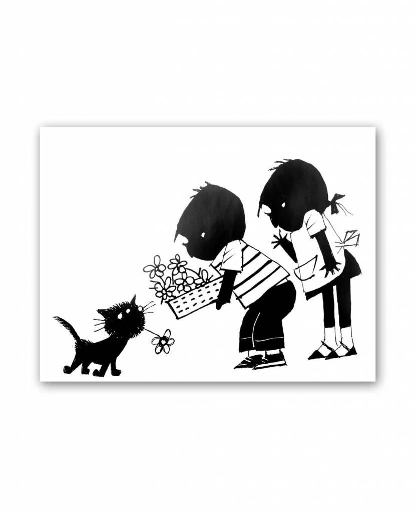 Art Unlimited Jip en Janneke Poster, Siepie brengt een bloem naar Jip en Janneke, 30 x 40 cm