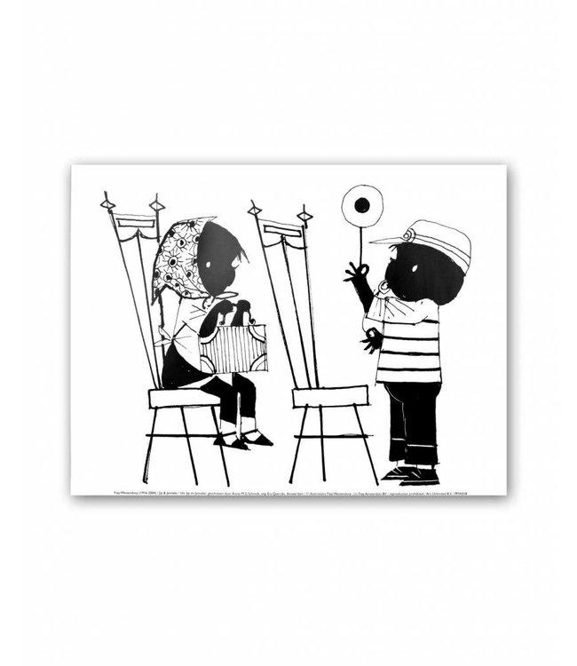 Jip en Janneke Poster, 'Treintje spelen', 30 x 40 cm