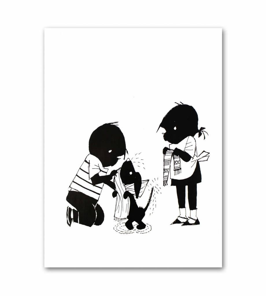 """Art Unlimited Jip en Janneke poster """"Drying Takkie"""". 50 x 67 cm"""