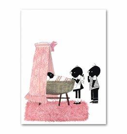 "Art Unlimited Jip en Janneke poster, pink, ""Cradle"". 50 x 67 cm"