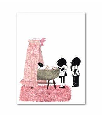 """Jip en Janneke poster, roze, """"Wiegje"""". 50 x 67 cm"""