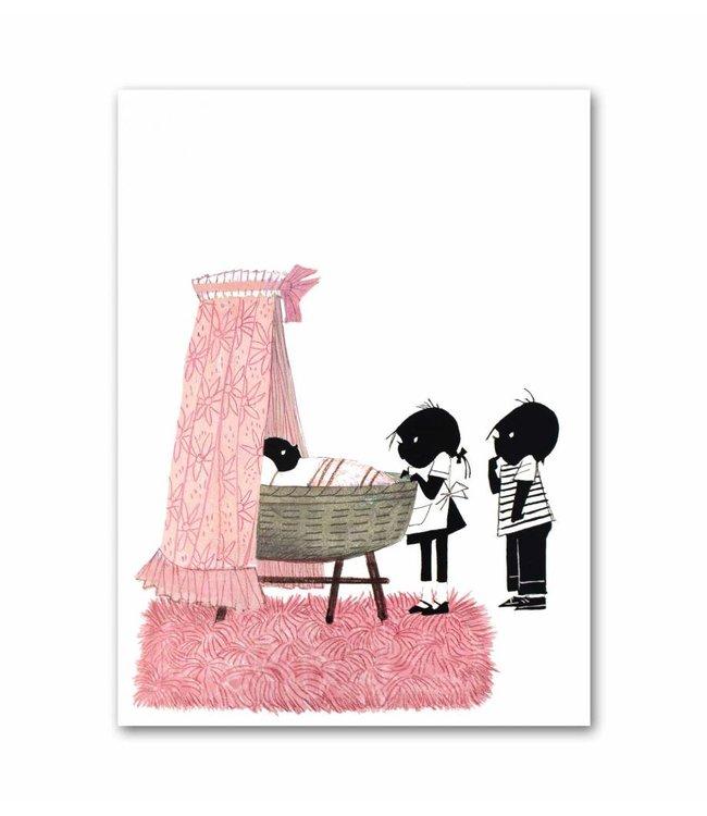 """Jip en Janneke poster, pink, """"Cradle"""". 50 x 67 cm"""