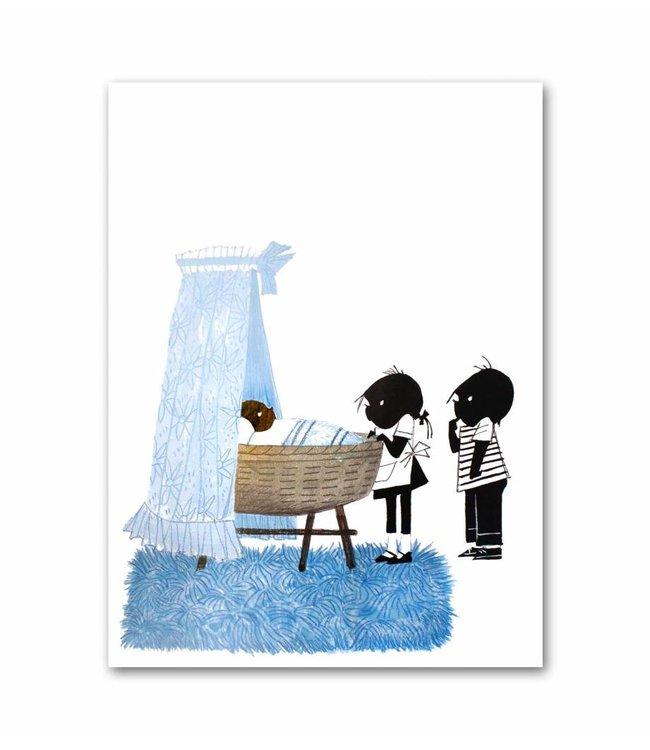 """Jip en Janneke poster, blauw, """"Wiegje"""", 50 x 67 cm"""
