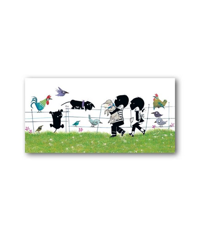 'Jip and Janneke with animals' XXL Card, Fiep Westendorp