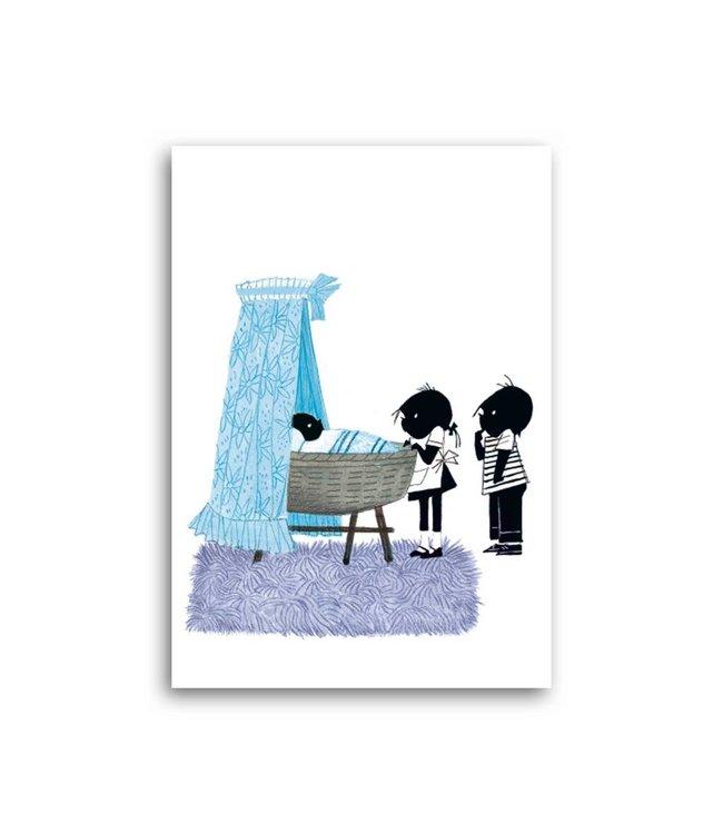 'Jip and Janneke near a newborn boy' Single Card, Fiep Westendorp