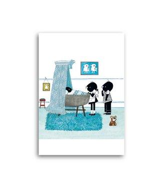 Bekking & Blitz 'Jip & Janneke bij wieg, blauw' Enkele Kaart