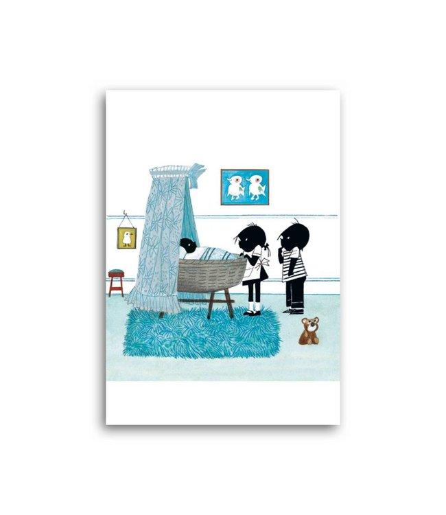 'Jip and Janneke near a cradle, blue' Single Card, Fiep Westendorp