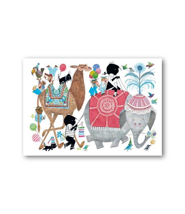 'Jip and Janneke in parade with an elephant' Single Card, Fiep Westendorp