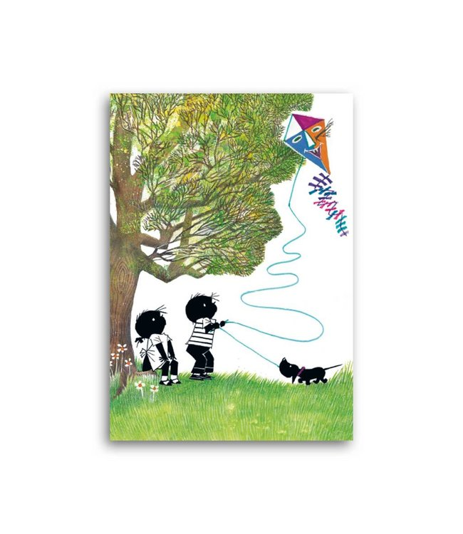 'Jip and Janneke with a kite' Single Card, Fiep Westendorp