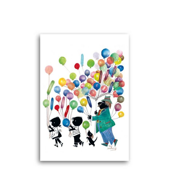 'Jip and Janneke with balloons' Single Card, Fiep Westendorp