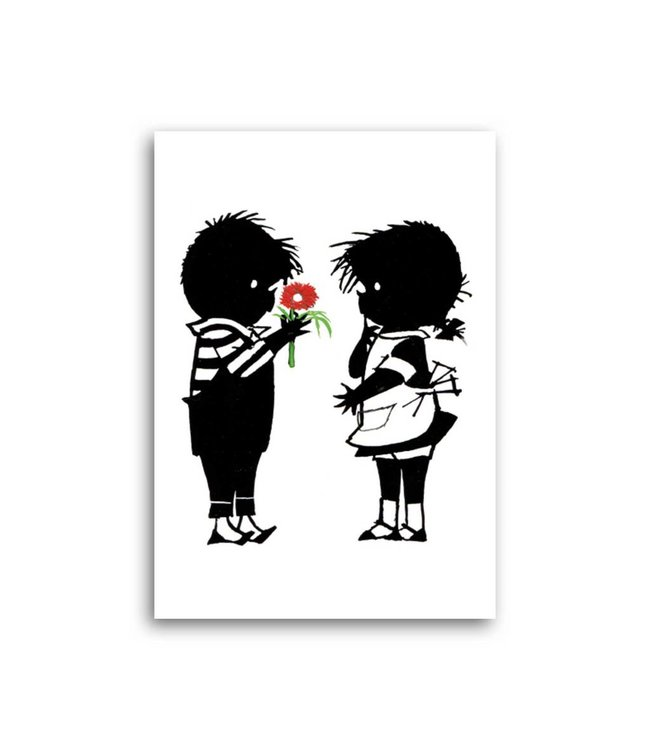 'Jip gives a flower to Janneke' Single Card, Fiep Westendorp