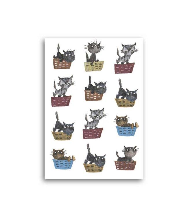 'Cat Baskets' Single Card, Fiep Westendorp