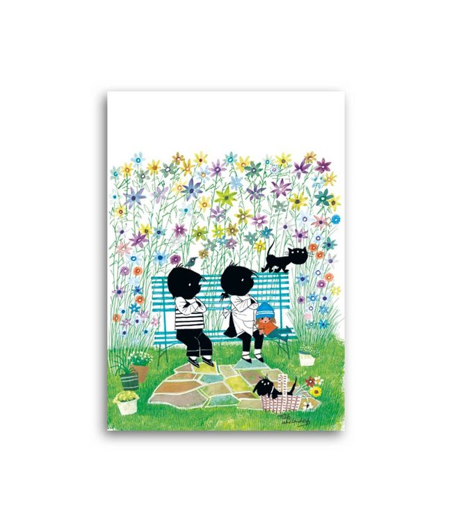 'Jip and Janneke on a bench' Single Card, Fiep Westendorp