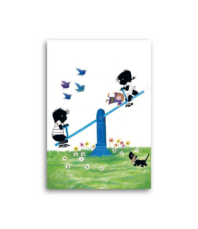 'Jip and Janneke on the seesaw' Single Card, Fiep Westendorp