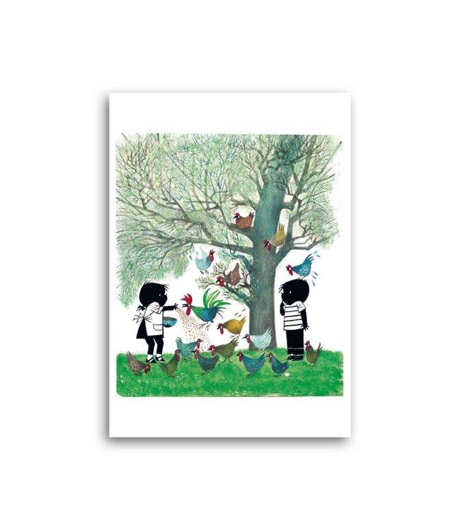 'Jip and Janneke feeding the chicken' Single Card, Fiep Westendorp