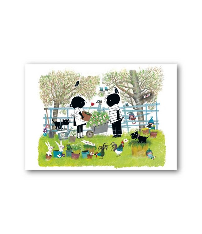 'Jip and Janneke in the garden' Single Card, Fiep Westendorp