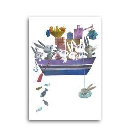 Bekking & Blitz 'Bunnies in a boat' Single Card