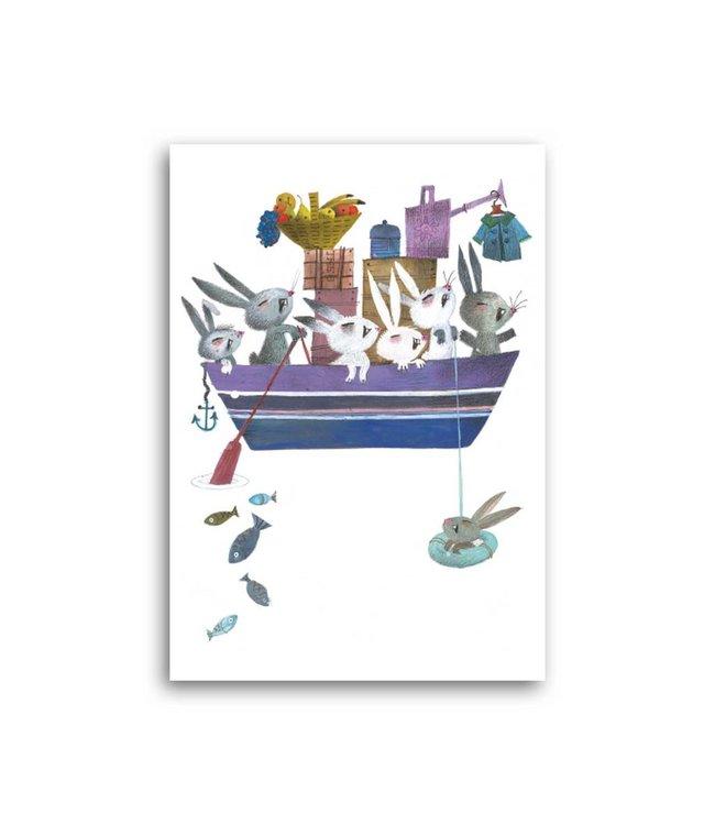 'Konijnen in een boot' Enkele Kaart, Fiep Westendorp