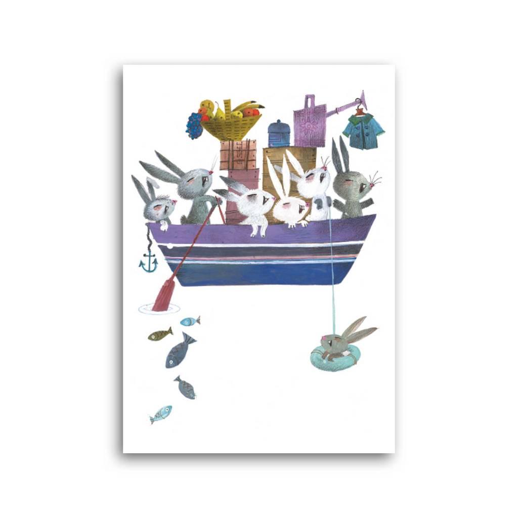 Bekking & Blitz 'Bunnies in a boat' Single Card, Fiep Westendorp
