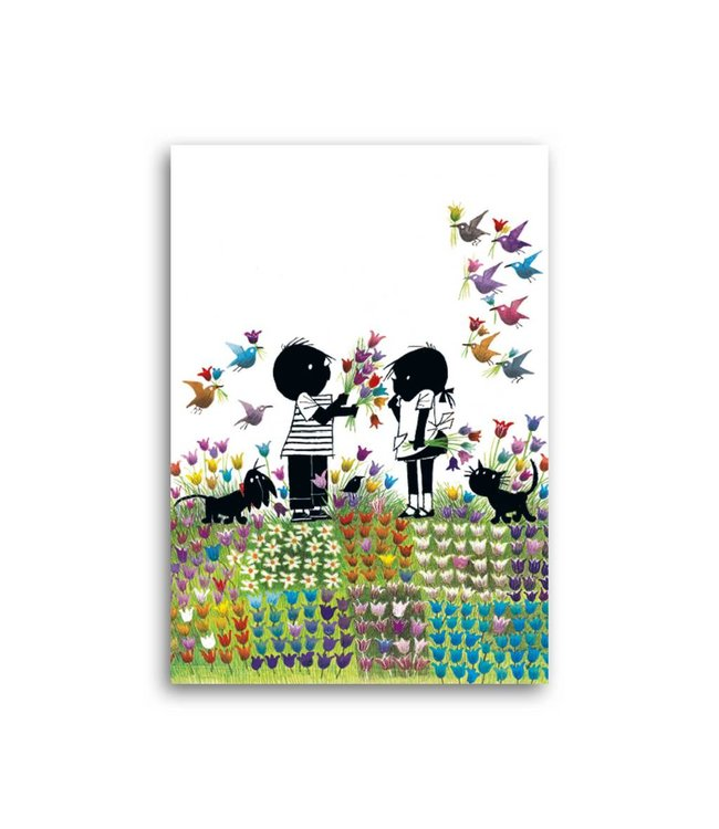 Bekking & Blitz 'Jip and Janneke in a flower meadow' Single Card
