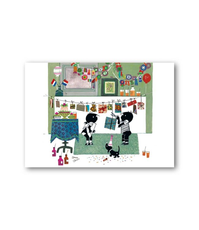 'Jip and Janneke with garlands' Single Card, Fiep Westendorp