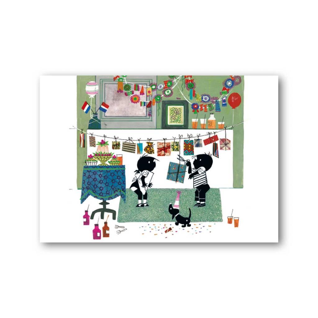 Bekking & Blitz 'Jip and Janneke with garlands' Single Card, Fiep Westendorp