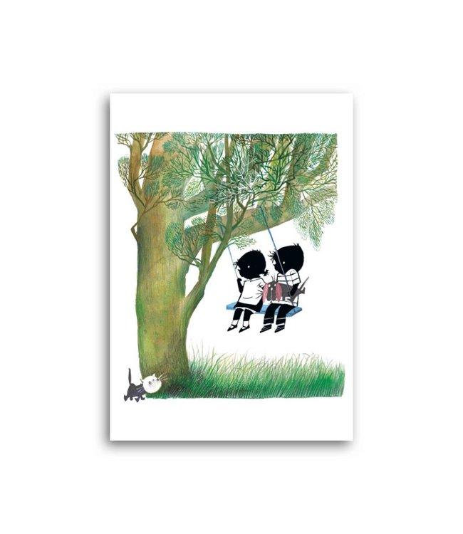 'Jip and Janneke on the swing' Single Card, Fiep Westendorp