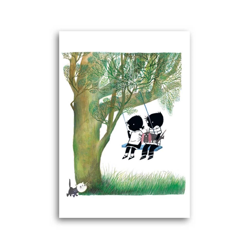 Bekking & Blitz 'Jip and Janneke on the swing' Single Card, Fiep Westendorp