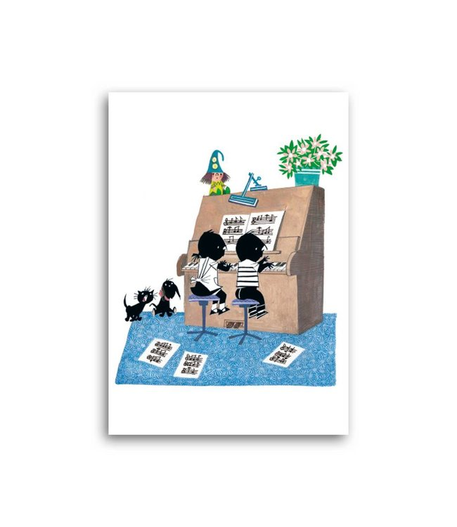 'Jip and Janneke playing the piano' Single Card, Fiep Westendorp
