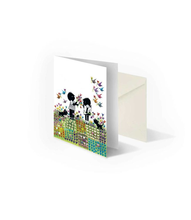 Bekking & Blitz 'Jip and Janneke  in flower meadow' folded notecard