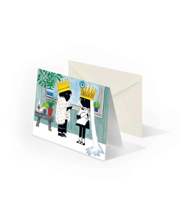 'Jip and Janneke as a bride and groom' folded notecard, Fiep Westendorp