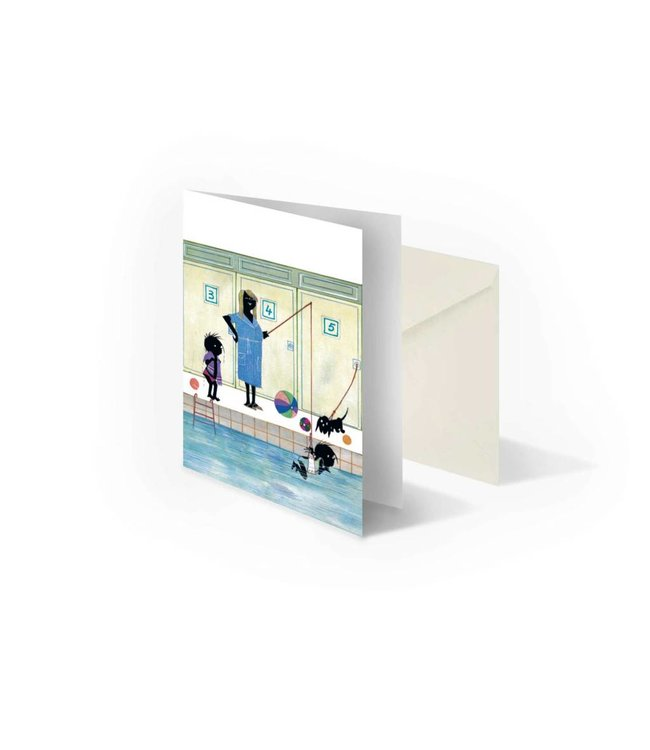 'Jip and Janneke are getting swimming lessons'  double postcard,  Fiep Westendorp