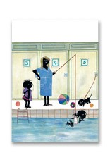 Bekking & Blitz 'Jip and Janneke are getting swimming lessons'  double postcard,  Fiep Westendorp