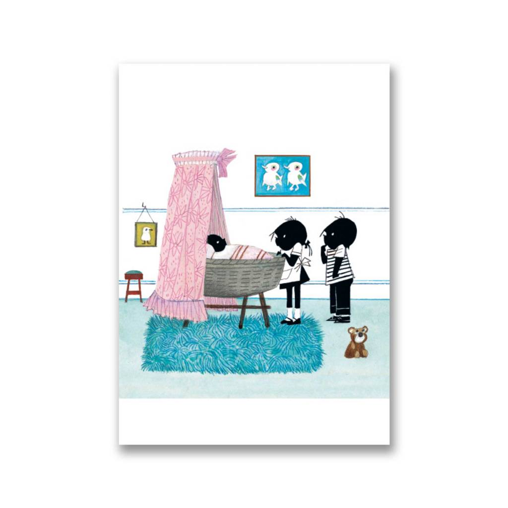 Bekking & Blitz 'Jip and Janneke near cradle, Pink' folded postcard, Fiep Westendorp