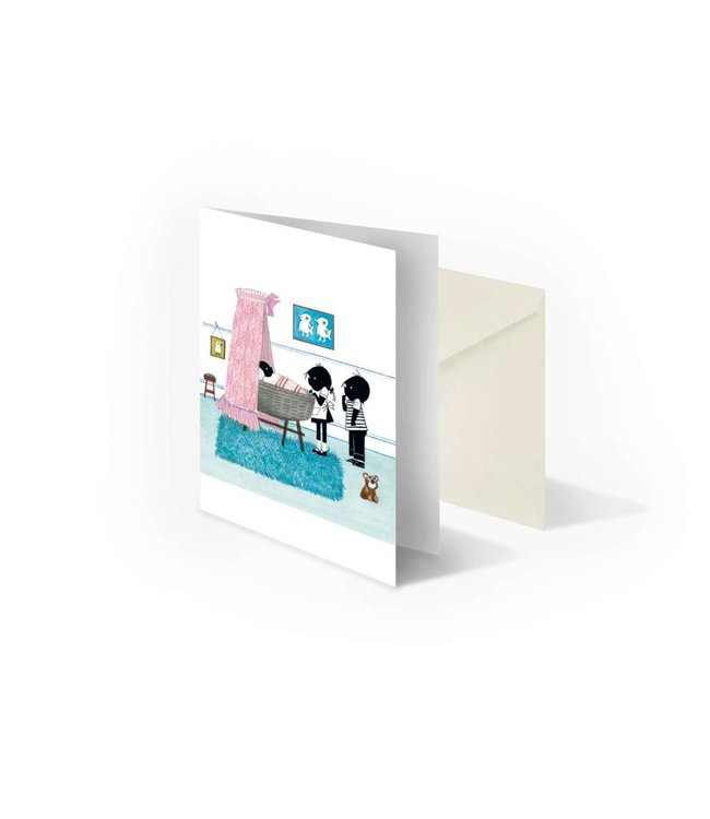 'Jip and Janneke near cradle, Pink' folded postcard, Fiep Westendorp