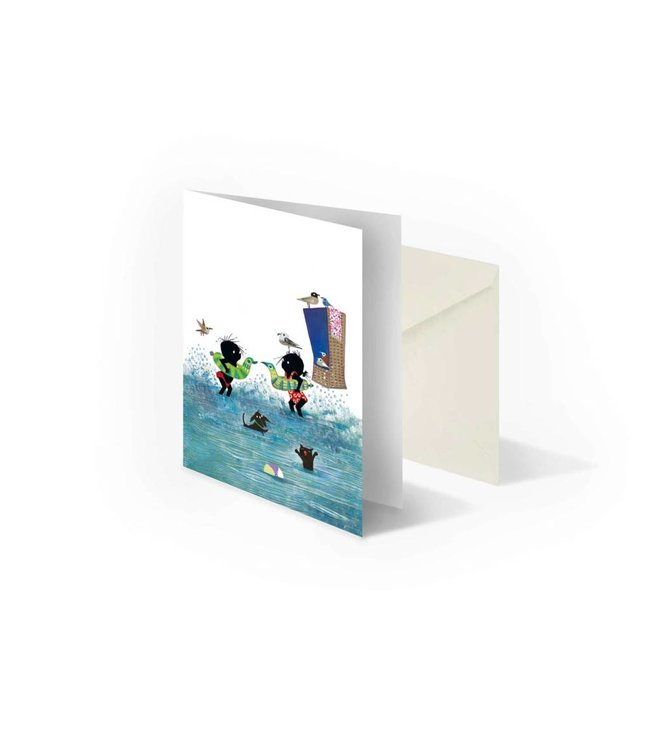 'Jip and Janneke in the water' folded notecard, Fiep Westendorp