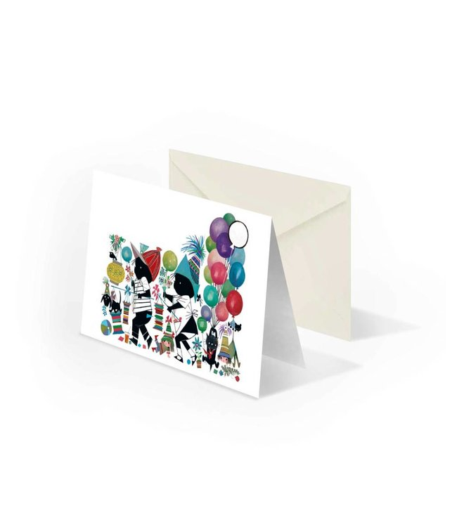 'Jip and Janneke with lanterns' folded notecard, Fiep Westendorp