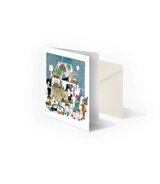'Jip and Janneke with birthday cake' folded notecard, Fiep Westendorp
