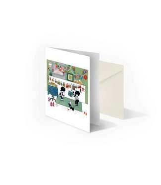 Bekking & Blitz 'Jip and Janneke with garlands' folded notecard